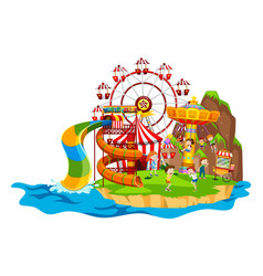 scene with children playing rides vector image