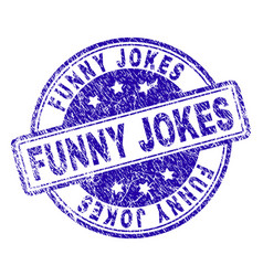 scratched textured funny jokes stamp seal vector image
