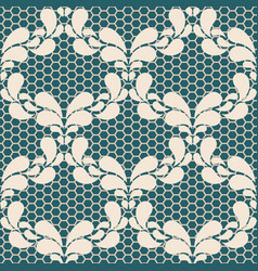 Seamless light lace pattern on blue background vector