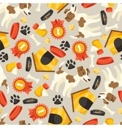 Seamless pattern with cute dogs icons and objects vector image