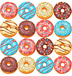 seamless pattern with glaze donuts and sprinkles vector image