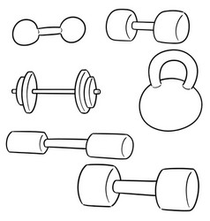set of dumbbell vector image