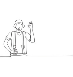 Single one line drawing mime artist vector