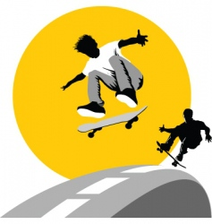 Skateboard moon vector