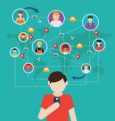 Social network people connecting all over the vector image