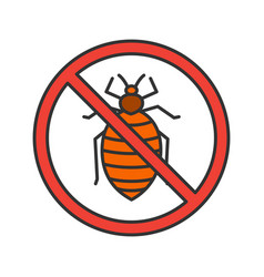 Stop bed bug sign color icon vector