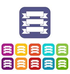 three ribbons icons set vector image