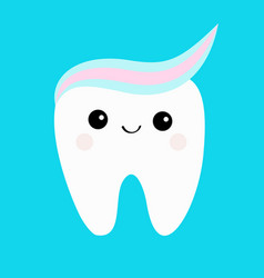 Tooth with toothpaste hair cute funny cartoon vector