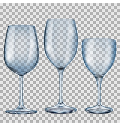 Transparent blue empty glass goblets for wine vector image