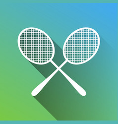 Two tennis racket sign white icon with gray vector