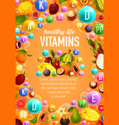 Vitamins and minerals poster with fruits vector