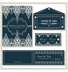 Wedding invitation cards tag and envelope wedding vector image