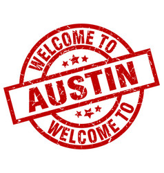 Welcome to austin red stamp vector