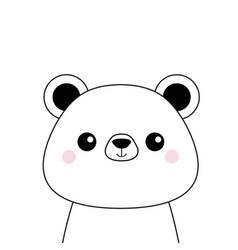 White bear face black contour silhouette kawaii vector