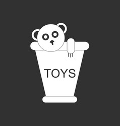White icon on black background teddy bear in vector