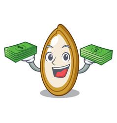 With money fresh pumpkin seeds on plate cartoon vector