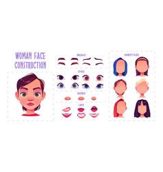 Woman face construction avatar creation set vector
