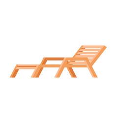 Wooden lounger deck chair garden or beach vector