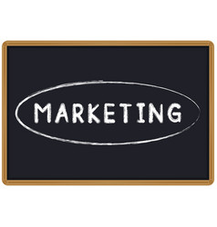 word marketing chalk written on a blackboard vector image