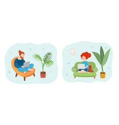 working at home man and woman on laptops vector image