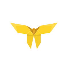 Yellow paper butterfly made in origami technique vector