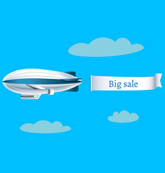 zeppelin airship with banner big sale vector image