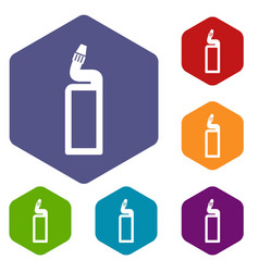 plastic bottle of drain cleaner icons set vector image