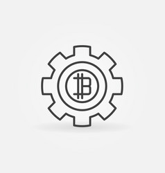 bitcoin in gear line icon vector image vector image