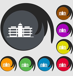 Business center icon sign Symbols on eight colored vector image