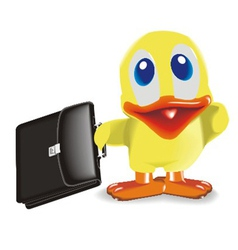 duck with bag vector image vector image