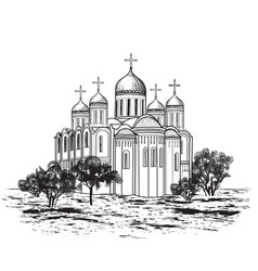 Famous place of vladimir city view russian city vector