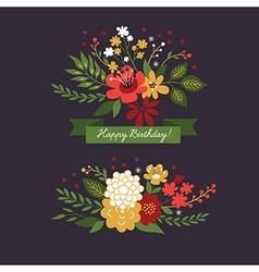 floral design elements on the dark background vector image vector image