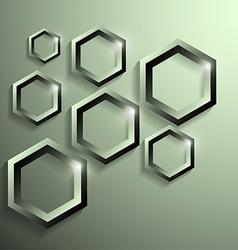 modern metallic polygonal shape with shadow vector image vector image