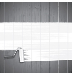 White Paint Roller on Planks Background vector image vector image