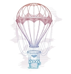 Colorful hot air balloon vintage poster vector image vector image
