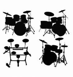 drums kits vector image vector image