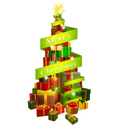 gifts tree with merry christmas ribbon vector image vector image