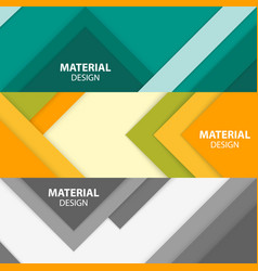 set of three horizontal material design banners vector image vector image