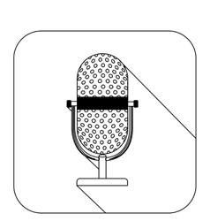 Square shape with silhouette microphone vector
