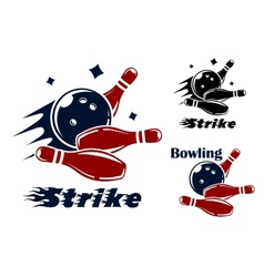Bowling icons and symbols vector