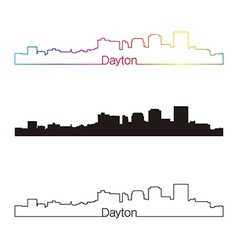 Dayton skyline linear style with rainbow vector image vector image