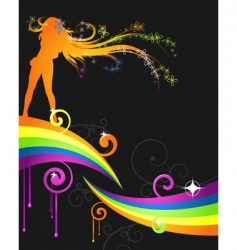 rainbow music flyer vector image vector image
