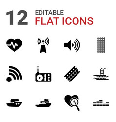 12 wave icons vector image