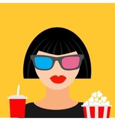 3D glasses big popcorn and soda Brunet girl vector