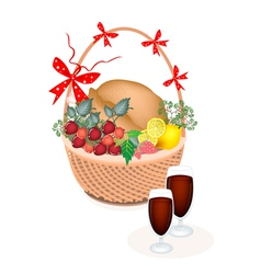 A Brown Basket of Thanksgiving Turkey with Wine vector image