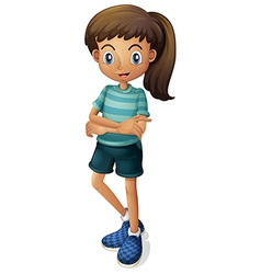 A young girl wearing a stripe-colored tshirt vector image
