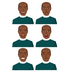 African american man with different expressions vector