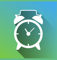Alarm clock sign white icon with gray dropped vector