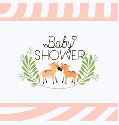 Baby shower card with cute tigers couple vector
