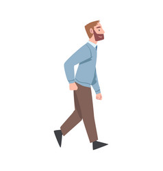 Bearded man character going or walking taking vector